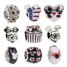 dodocharms <b>1Pcs Big Hole</b> Silver Beads Cute Mickey Charms Fits ...