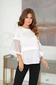 Белая <b>блузка с коротким рукавом</b> купить оптом 422