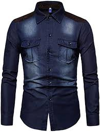 AOWOFS <b>Men's</b> Denim Shirt <b>Casual Fashion Stitching</b> Suede ...