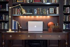 architecture and interior design elegant home office photo in new york with a freestanding desk charming home office light