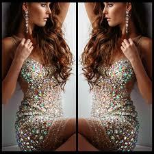 Sexy Short <b>Bling Prom Dresses</b> Mini <b>Sheer</b> Scoop Neck Nude Tulle ...