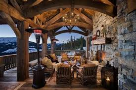 spectacular rustic balcony stone wall outdoor furniture chandelier balcony lighting ideas
