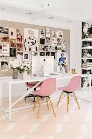 inspiration office. a large bludot dining table actually serves as the workstation flanked by fiberglass shell chairs inspiration office o