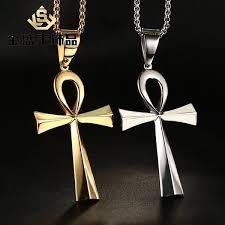 Mens Stainless Steel Coptic <b>Ankh Cross Pendant</b> Wheat Braided ...