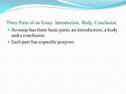 The GED Essay Sheila R  McCurley  The Three Parts of an Essay     SlidePlayer Three Parts of an Essay  Introduction  Body  Conclusion An essay has three basic