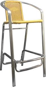 patio stool: double tube aluminum amp rattan bar stool