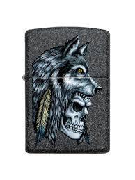<b>Зажигалка</b> Wolf Skull с <b>покрытием</b> Iron Stonе <b>Zippo</b> 8632872 в ...