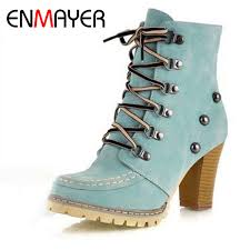 <b>Enmayer New</b> Stylish High Qulity Ankle Boots For Women Brown ...