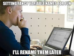 Setting fancy variable names for fun I'll rename them later ... via Relatably.com