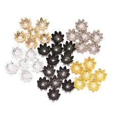 <b>100pcs</b>/<b>Lot 8 10 mm</b> Lotus Flower Metal Loose Spacer Bead Caps ...