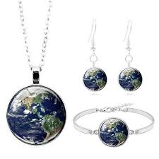 <b>Planet</b> Earth Cabochon 3-Piece <b>Jewelry Set</b> – Unique Chic Store