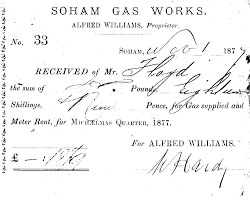 receipt no for sd received from mr floyd for gas and meter receipt no 33 for 18s9d received from mr floyd for gas and meter rent for michaelmas quarter 1877 soham gas works