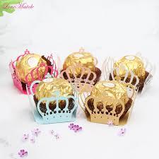 <b>50pcs</b>/lot <b>Laser</b> Cut Crown Heart Candy Bar Box Kid Birthday Party ...