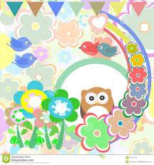 Background With <b>Owl</b>, <b>Flowers</b>, <b>Birds</b> And <b>Trees</b> Stock Vector ...
