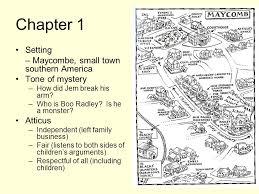 to kill a mockingbird    summary  chapter  setting – maycombe    chapter  setting – maycombe  small town southern america tone of mystery –how did
