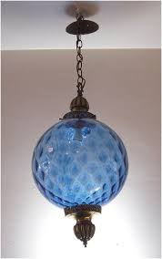 vintage hanging light fixture swag lamp chain cord mid century modern mood lighting blue glass globe pendant light blue brass antique lamp enchanting mid century