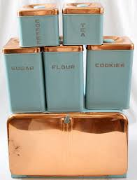 Green Kitchen Canister Set Lincoln Beautyware Kitchen Canister Set 6 Turquoise Copper
