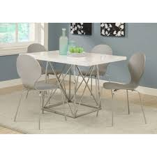 size dining room contemporary counter:  large size of dining room contemporary white glossy chrome metal counter height dining table