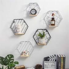 Online Shop <b>Iron Hexagonal Grid Wall</b> Shelf Combination Wall ...