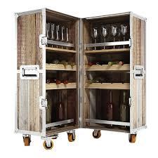 industrial loft reclaimed teak trunk bar cabinet bar trunk furniture