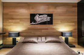 cozy bedroom with wooden wall panel also lamps table the bedside and painting above headboard 750x497 bedroom wood wall panel