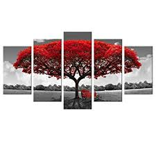 5 Panels Canvas Wall Art Red Tree Picture Prints on ... - Amazon.com