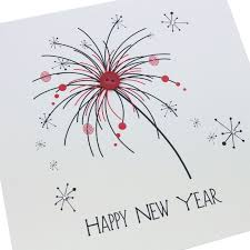 Handmade Christmas New Year card red black sparkle firework ...
