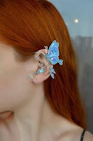 Blue butterfly ear cuff * Butterfly ear wrap * Fairy ear cuff Elf Ear Cuff ...