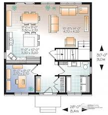 House plan W detail from DrummondHousePlans com    st level Economical Modern Home plan    bedrooms  home office and open floor