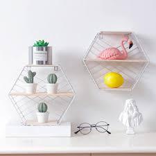 <b>Nordic</b> Iron Hexagonal <b>Grid</b> Wall Floating Shelf Combination Wall ...