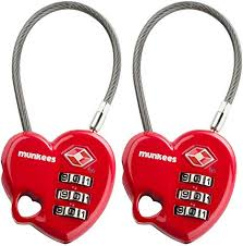 <b>Munkees</b> Heart Shaped <b>Combination Lock</b> Cable Lock TSA ...