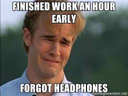 Finished work an hour early forgot headphones - Crying Man | Meme ... via Relatably.com