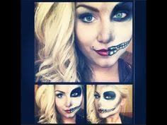 half pin up half skeleton makeup tutorial