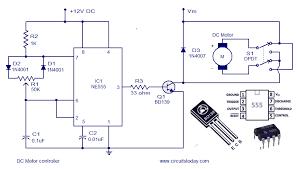 dc motor speed controller circuit using ne555 dc motor control circuit diagram