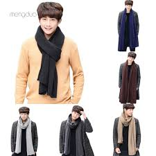 ▷Meng◁<b>Fashion Solid Color Men</b> Knitting Long Soft Warm Scarf ...