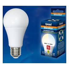Светодиодная <b>лампа Uniel LED</b>-<b>A60</b>-<b>9W</b>/<b>WW</b>+<b>NW</b>/<b>E27</b>/<b>FR</b> ...