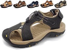 Asifn Sports <b>Outdoor Sandals Summer Men's</b> Beach Shoes Leather ...
