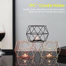 Home Decoration Iron Durable <b>Nordic</b> Style <b>Geometric Grid</b> Candle ...