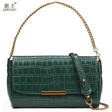 <b>QIWANG</b> New Fashion Women'S Bags Famous <b>Brand</b> Solid Green ...