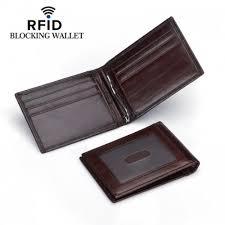 DKER <b>Men RFID Genuine Leather</b> Money Clip Wallet ID Slim Credit ...