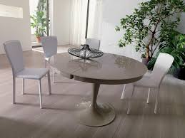 round glass extendable dining table:  full modern round light grey lacquered extendable dining table design come with round base and white modern dining chair x