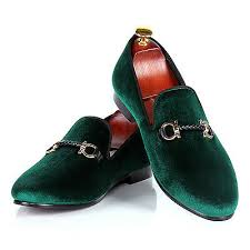 <b>Harpelunde</b> Green <b>Men</b> Velvet Loafers Buckle Woven Rope ...
