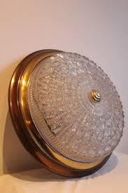 Antique Large ceiling lamp <b>48 cm</b>, cut crystal coupe - Brass, Crystal ...
