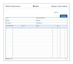 invoice for services part carbonless