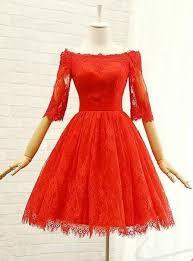 Beautiful Red Lace <b>Short Sleeves</b> Wedding Party <b>Dress</b>, Red <b>Prom</b> ...