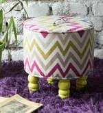 Buy Como <b>Pouffe</b> In <b>Printed</b> Fabric with PU Painted Turned Legs by ...