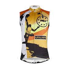 ILPALADINO <b>Men's</b> Sleeveless <b>Cycling Jersey</b> Black / Orange <b>Skull</b> ...