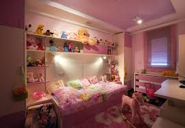 girls room playful bedroom furniture kids: pink girls bedroom with built in bed and very nice lighting