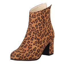 <b>Women</b> Leopard Ankle <b>Boots</b> Chunky Heel Chelsea Autumn <b>Boots</b> ...
