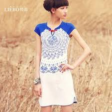 #Swanmarks Liebo New <b>Summer Printing Short Sleeve</b> Dress ...